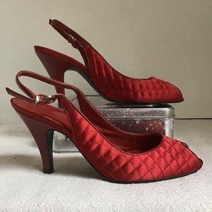 Gianni Bini Deep Red Peep Toe Quilted Vamp Shoe